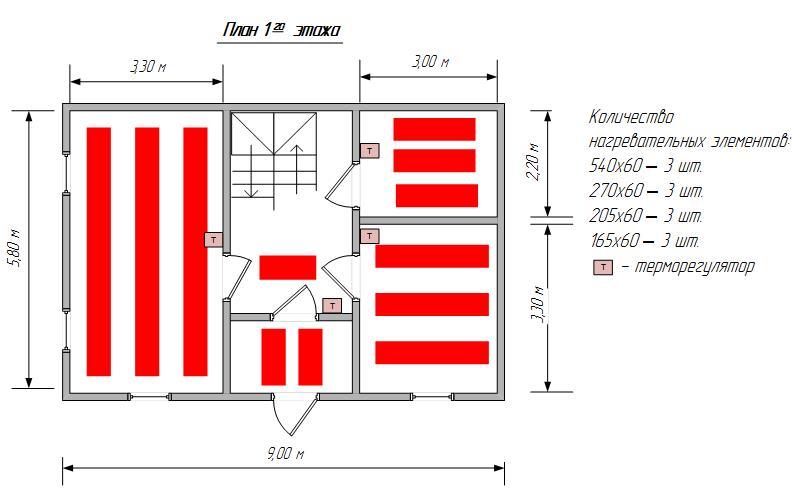 План частного двухэтажного дома с системой отопления помещения методом обогрева пленочными отопительными элементами.